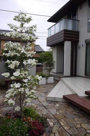 石貼りのお庭です